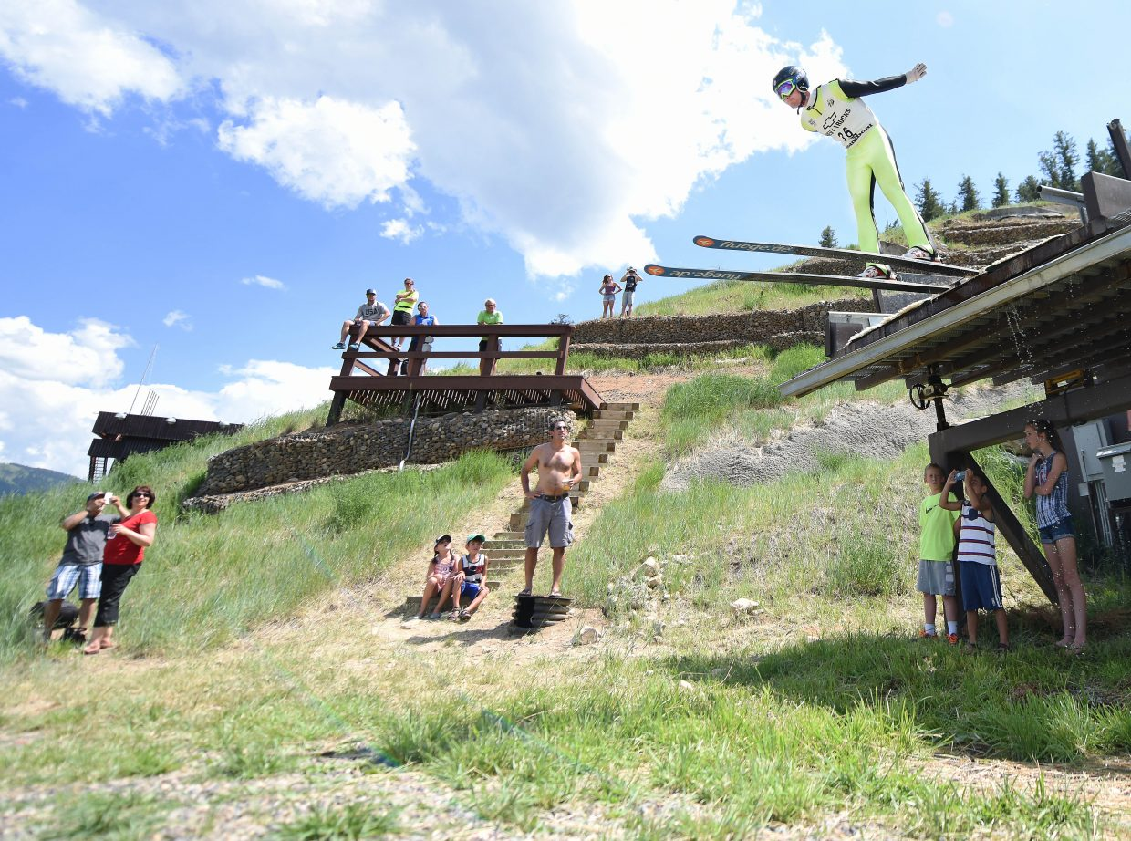 Taylor Fletcher takes off Monday at Howelsen Hill in Steamboat Springs.