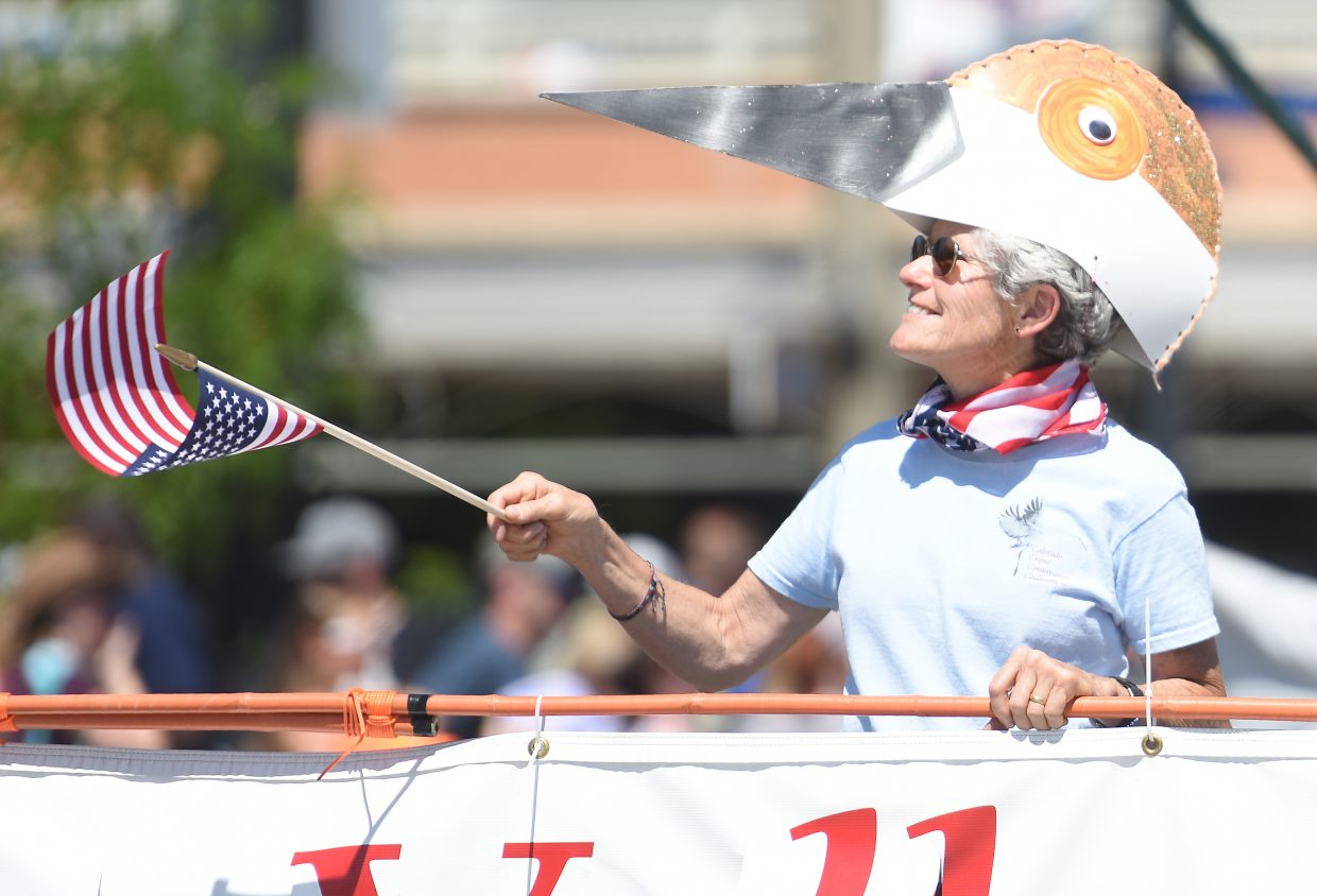 Janet Panebaker marches with the Colorado Crane Conservation Coalition entry Monday during the Fourth of July parade in Steamboat Springs. The Crane group won Best Theme in the 2016 parade. Other winners were:  Best Group, Perry-Mansfield Performing Arts School and Camp; Best Commercial Float, Steamboat Tennis Association; and Best Parade Theme, Children's Orchestra.