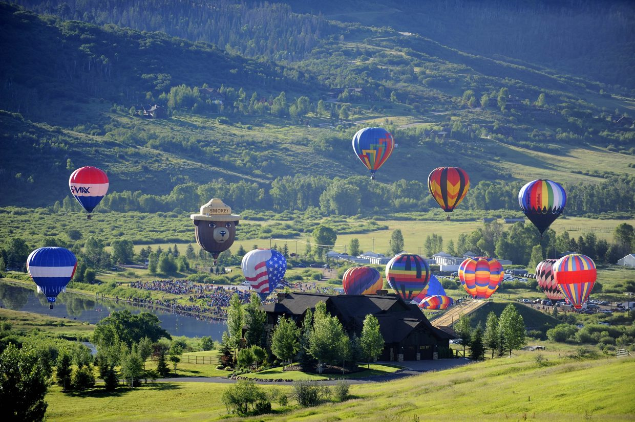 Balloons take flight over Bald Eagle Lake during the 2015 Hot Air Balloon Rodeo. The event returns to the Yampa Valley this Saturday and Sunday.