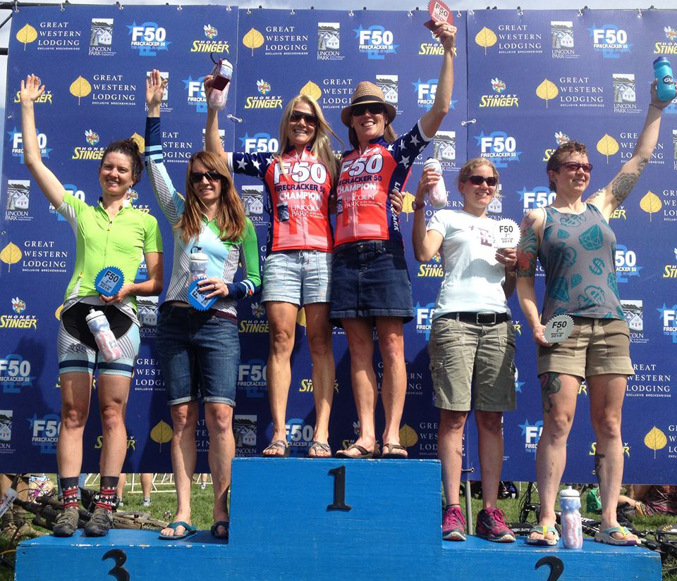 Kelly Boniface, left, and Jaime Brede won the women's duo division at Saturday's Breckenridge Firecracker 50.