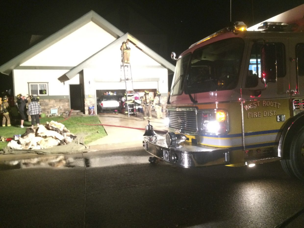 West Routt Fire Protection District firefighters on Monday night were called to a house on fire on Dry Creek South Road. The fire was started by lightning. No one inside the house was injured, and the fire was contained to the attic space above the garage.
