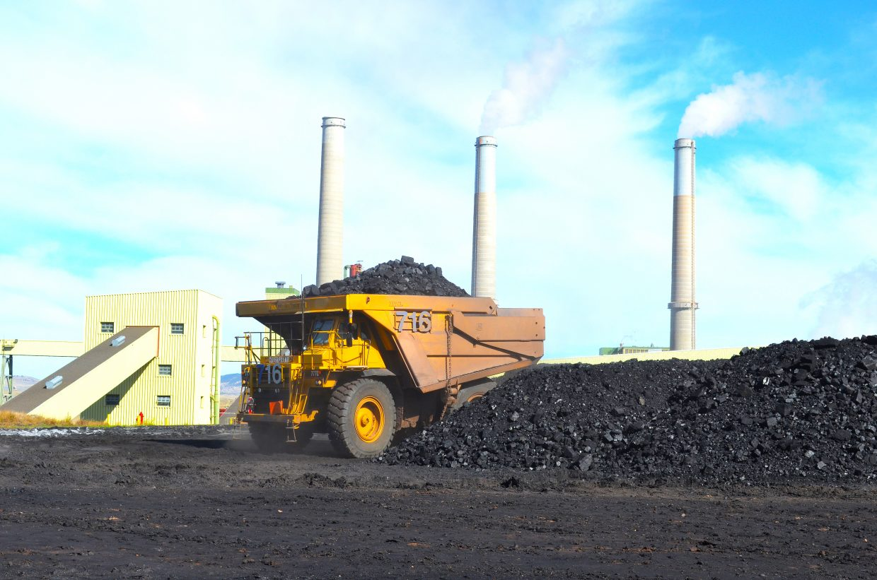 A Trapper Mine haul truck prepares to dump a load of coal near Craig Station.