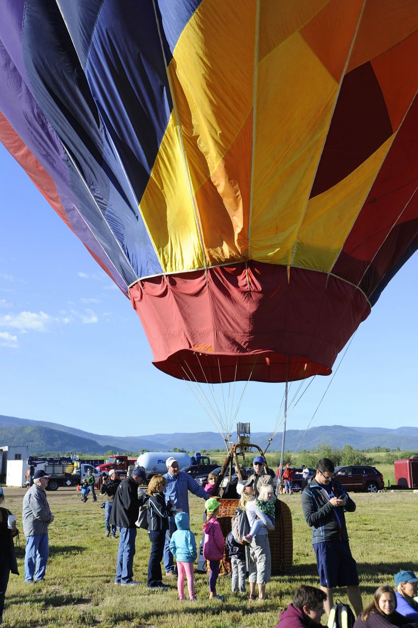 A balloon prepares to take off during Saturday's Balloon Rodeo.