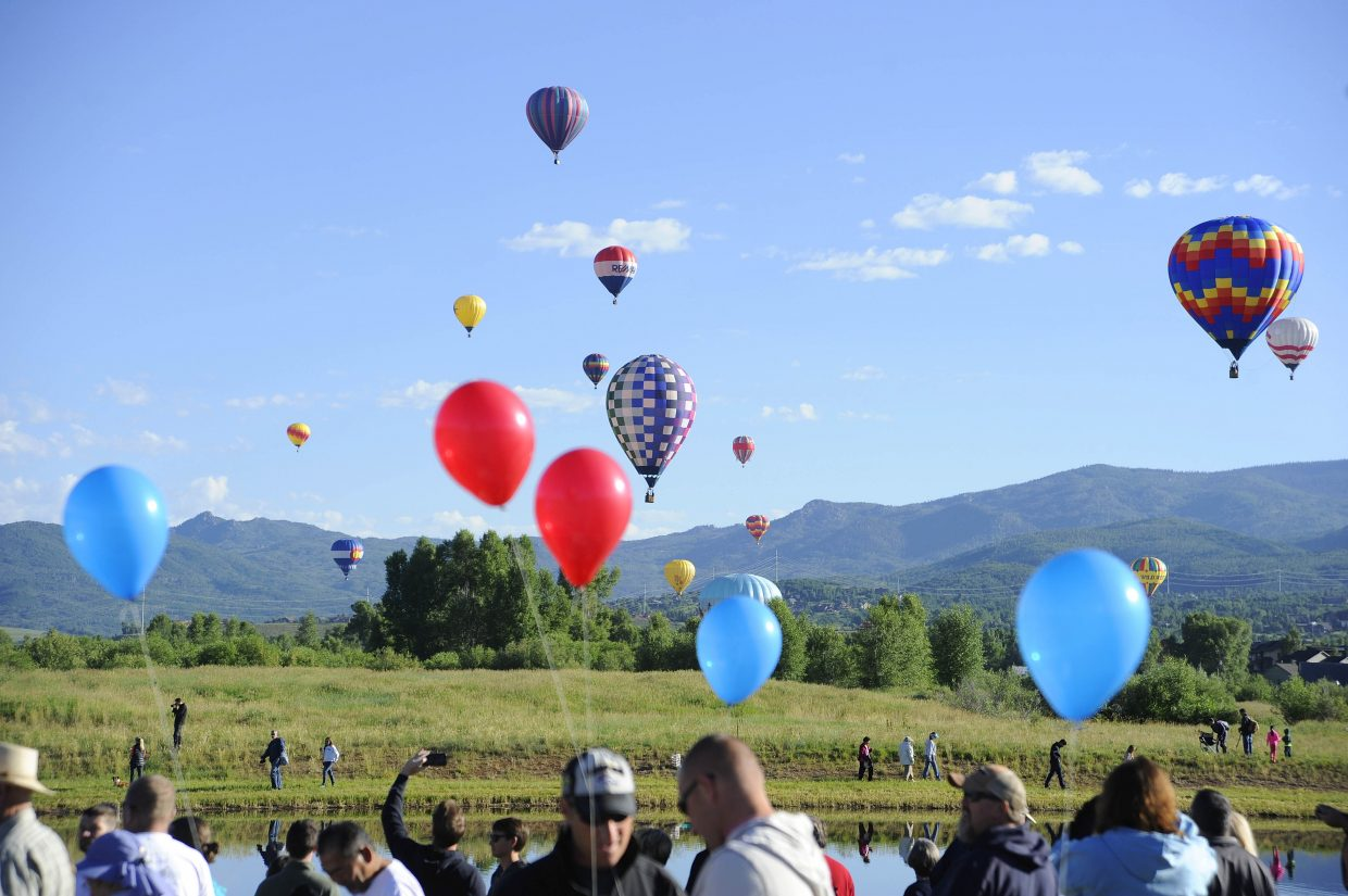 Balloons fly over the Yampa Valley during Saturday's Balloon Rodeo.