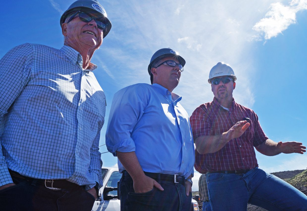 Colorado Rep. Bob Rankin, R-Carbondale; U.S. Senator Cory Gardner, R-Colorado; and Colowyo Mine Manager Chris McCourt observe operations at South Taylor Pit. Rankin and Gardner visited Colowyo for the first time Friday, amidst growing concern about the future of the mine.