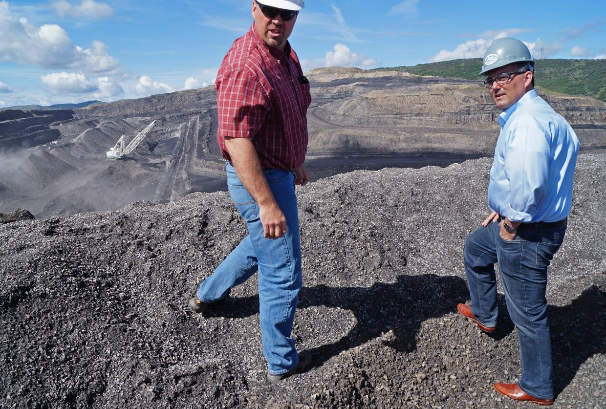 Chris McCourt, Colowyo Mine manager, shows South Taylor Pit to U.S. Sen. Cory Gardner on his first visit to the mine.