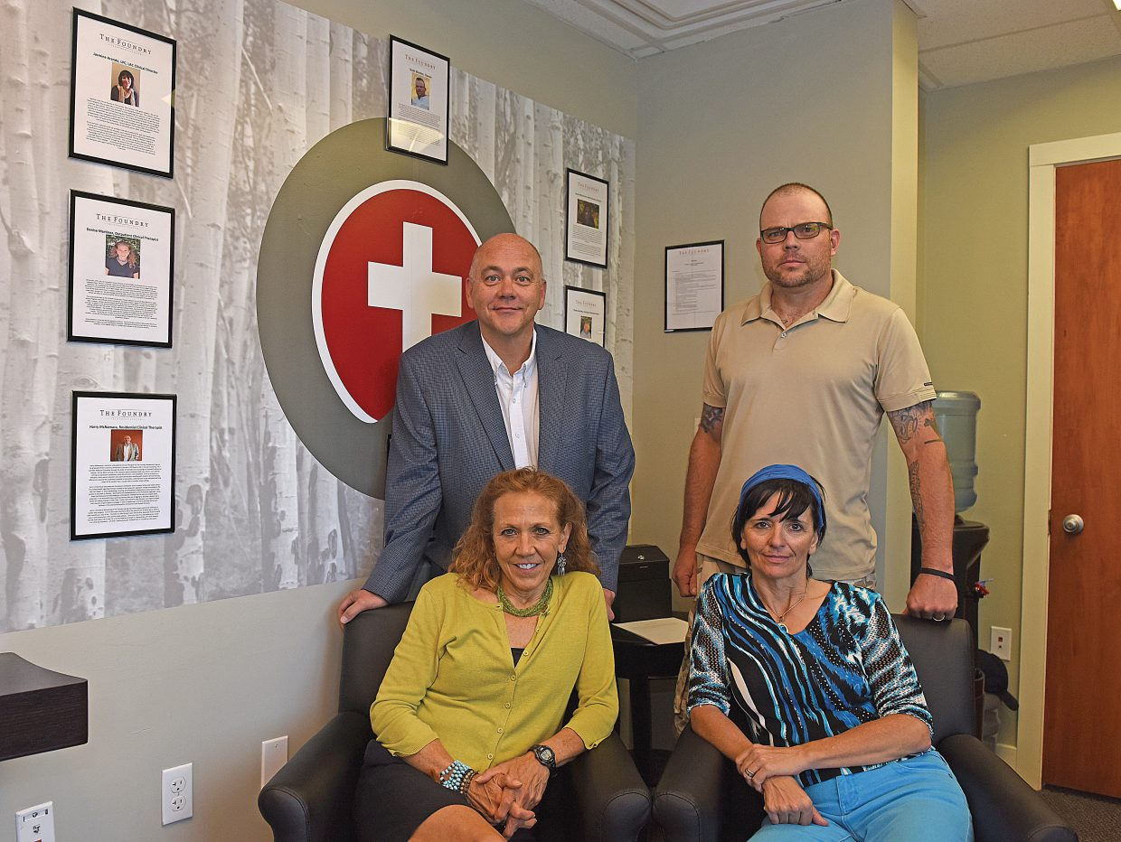 Some of the key players in the operation of the Foundry include, back row, left to right, resident clinical therapist Harry McNamara and owner Scott Borden. Pictured front row, left to right, are outpatient clinical therapist Denise Martinez. and clinical director Jasmine Aranda.