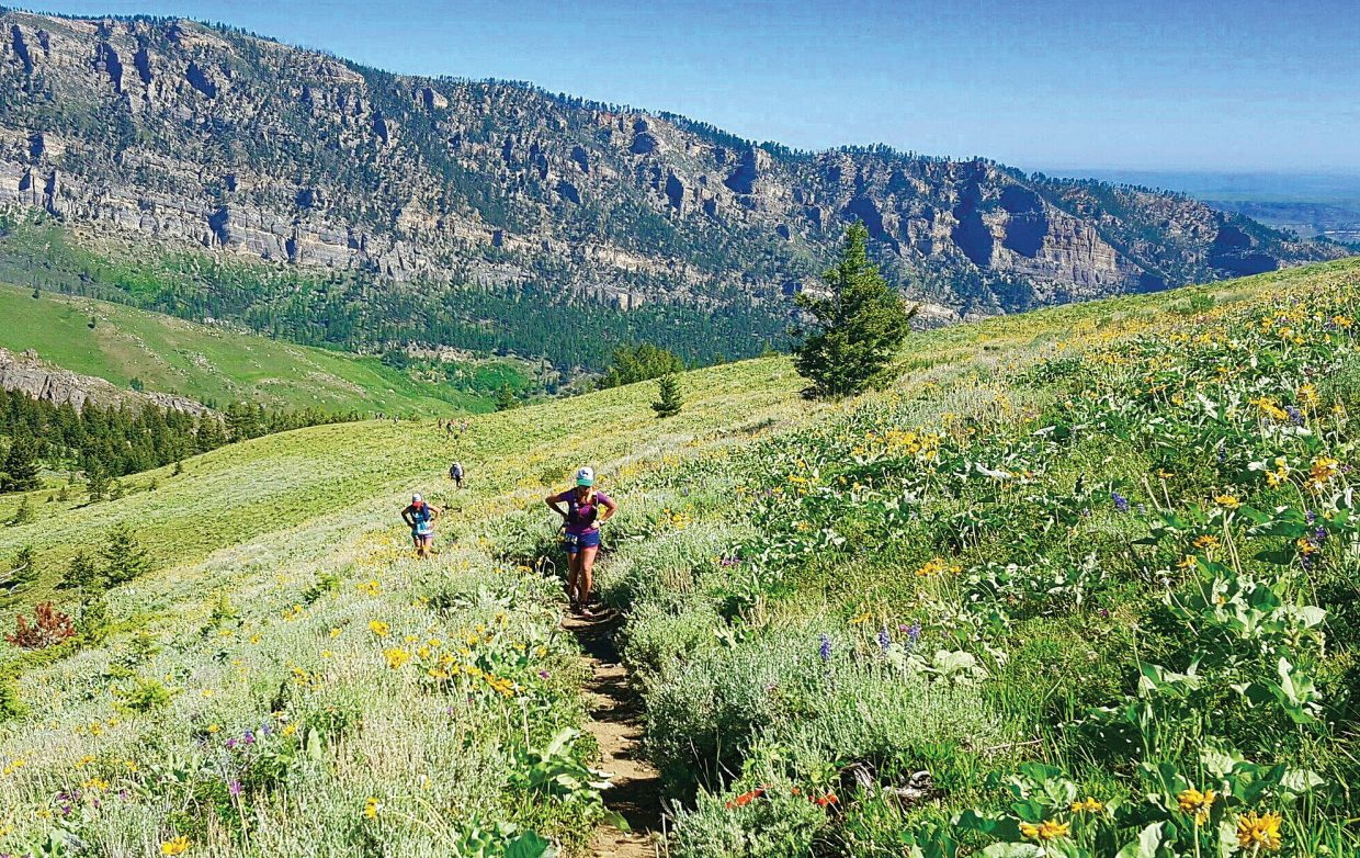 Cara Marrs makes her way along the 100-mile trail during the Big Horn Scenic Trail run in June. The Steamboat Springs ultra-runner was able to overcome blisters to finish the event, marking the first time she had ever finished a 100-mile race.