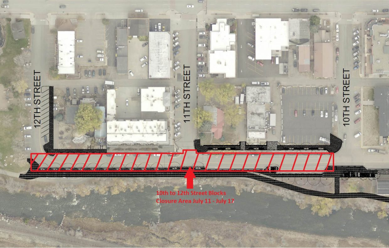 This map shows current closures and detours associated with the Yampa Street construction project.