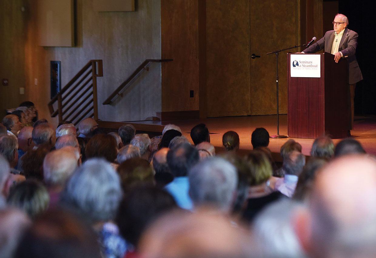 Speaker Norman Ornstein addresses a large crowd at the first Seminars at Steamboat event in 2016.