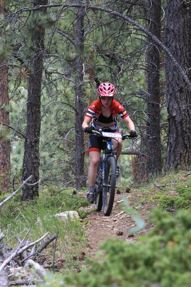 Becky Edmiston rides last weekend in the Tatanka Mountain Bike Race in South Dakota. She finished second in the women's division of the 50-kilometer race.