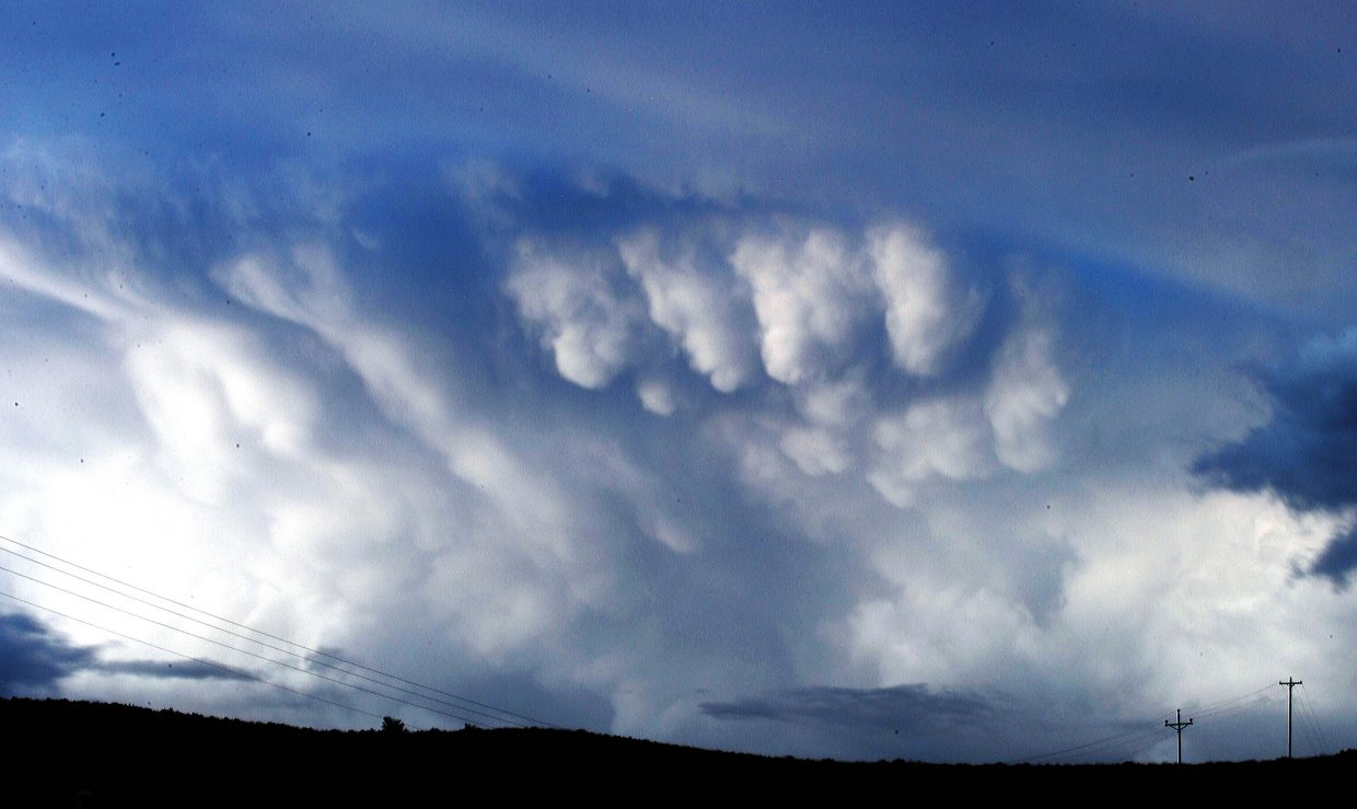 These clouds west of Steamboat Springs look ominous but failed to create any cloud-to-ground lightning last weekend.