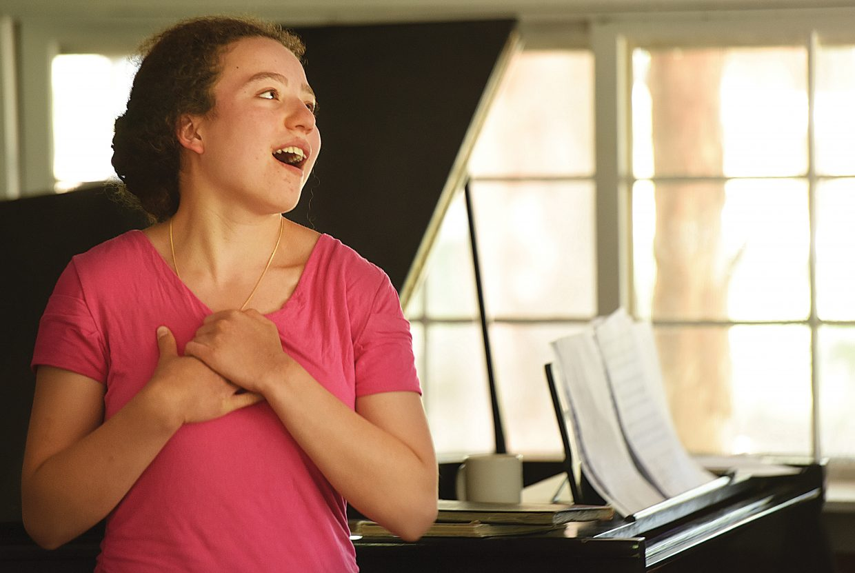 """KaLia Bernstein performs """"I Feel Pretty"""" from Leonard Bernstein's """"West Side Story"""" during a rehearsal on the campus of the Perry-Mansfield Performing Arts School and Camp earlier this week."""