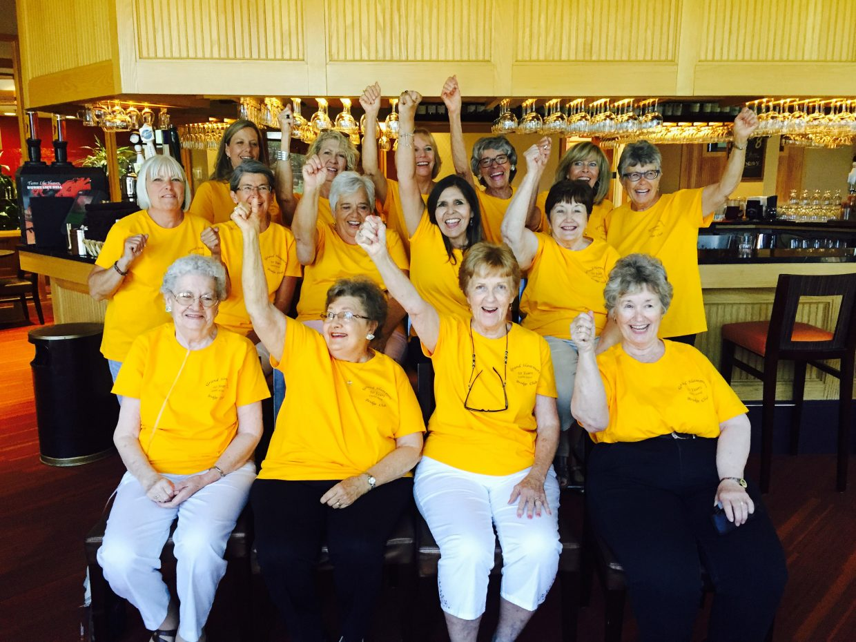 Members and alumni of Yampa's Grand Slammers Bridge Club gathered recently in Grand Junction to celebrate the 50th anniversary of the club, which was formed in 1966. Pictured, back row, from left, are Raylene Olinger, Deana Znamenacek, Susi Crowner, Mary Jane Logan, and Bobbie Vetter; middle row, from left Sharon Clementson, Sandi deGanahl, Sue Hall, Cathy Lewis and Joy Walters; and, front row, from left, JoAnn Morgan, Cathie Voorhees, Sally Meek and Karen Craig.