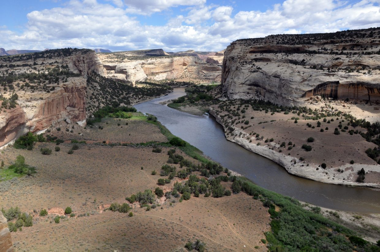 There are many scenic overlooks along the rugged and remote Yampa Bench Road. This is a view of the Yampa River in Dinosaur National Monument.