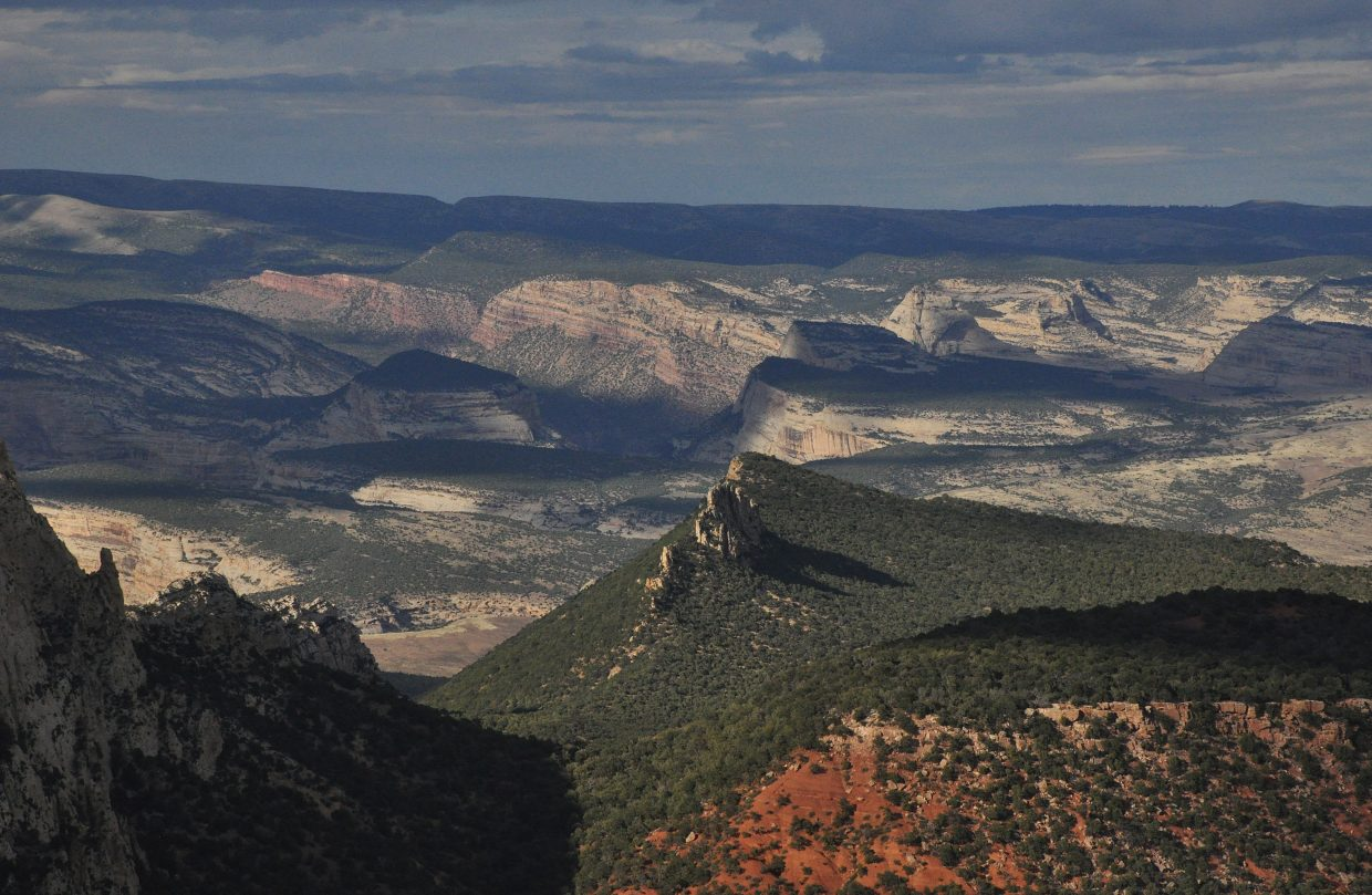 The view from the beginning of Echo Park Road in Dinosaur National Monument.