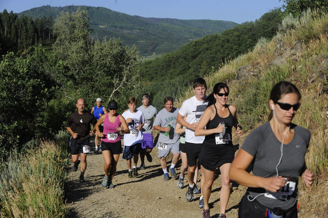 Runners begin the 9-mile Steamboat Springs Running Series Spring Creek Memorial race in 2013. This year's race returns with the 9-mile race starting at 8 a.m. Saturday and the 5K starting at 8:30 a.m.