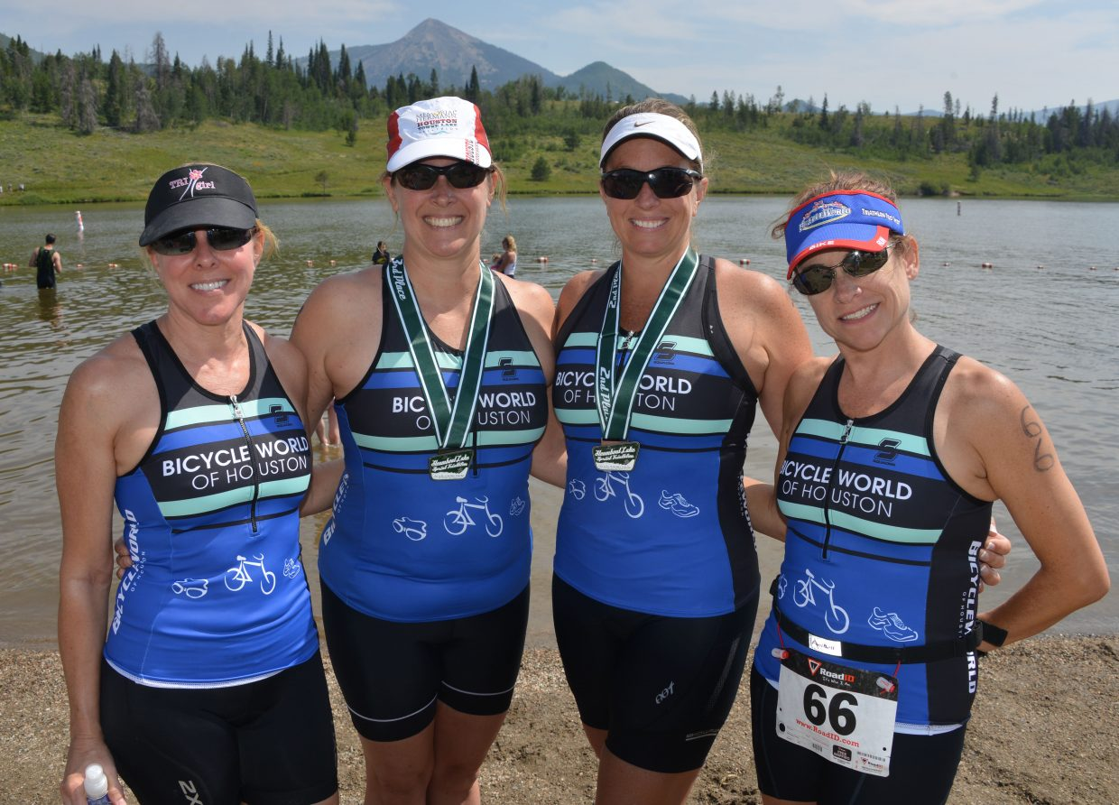 Christine Dodson, right, Jennifer Draper, Monique Boling and Lagenia Clark are all Houston-based triathletes who tackled Sunday's Steamboat Lake Sprint Triathlon. It was tough, they said, but worth it.