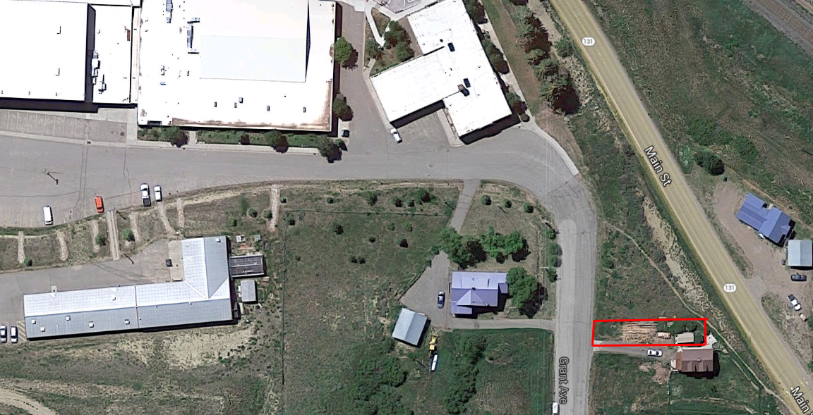 The red outline shows the approximate location of a 0.07-acre parcel of land owned by the South Routt School District. Homeowner Max Huppert owns the house and land immediately adjacent to the parcel and had assumed the district's land was his own until this summer. Soroco High School is the largest building in the upper left corner of the image.