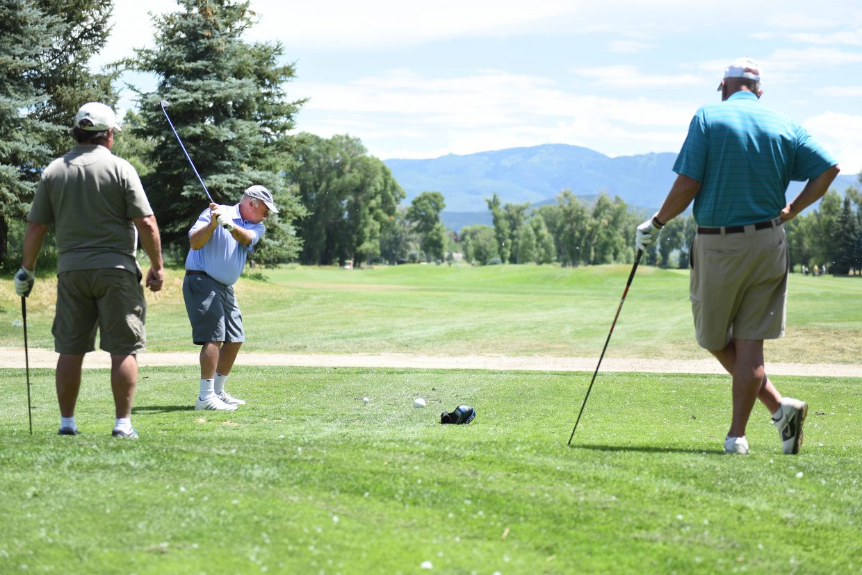 Don Gleason tees off Wednesday during the men's club league at Steamboat Golf Club in Steamboat Springs. The group has about 50 active members and has plays every Wednesday.