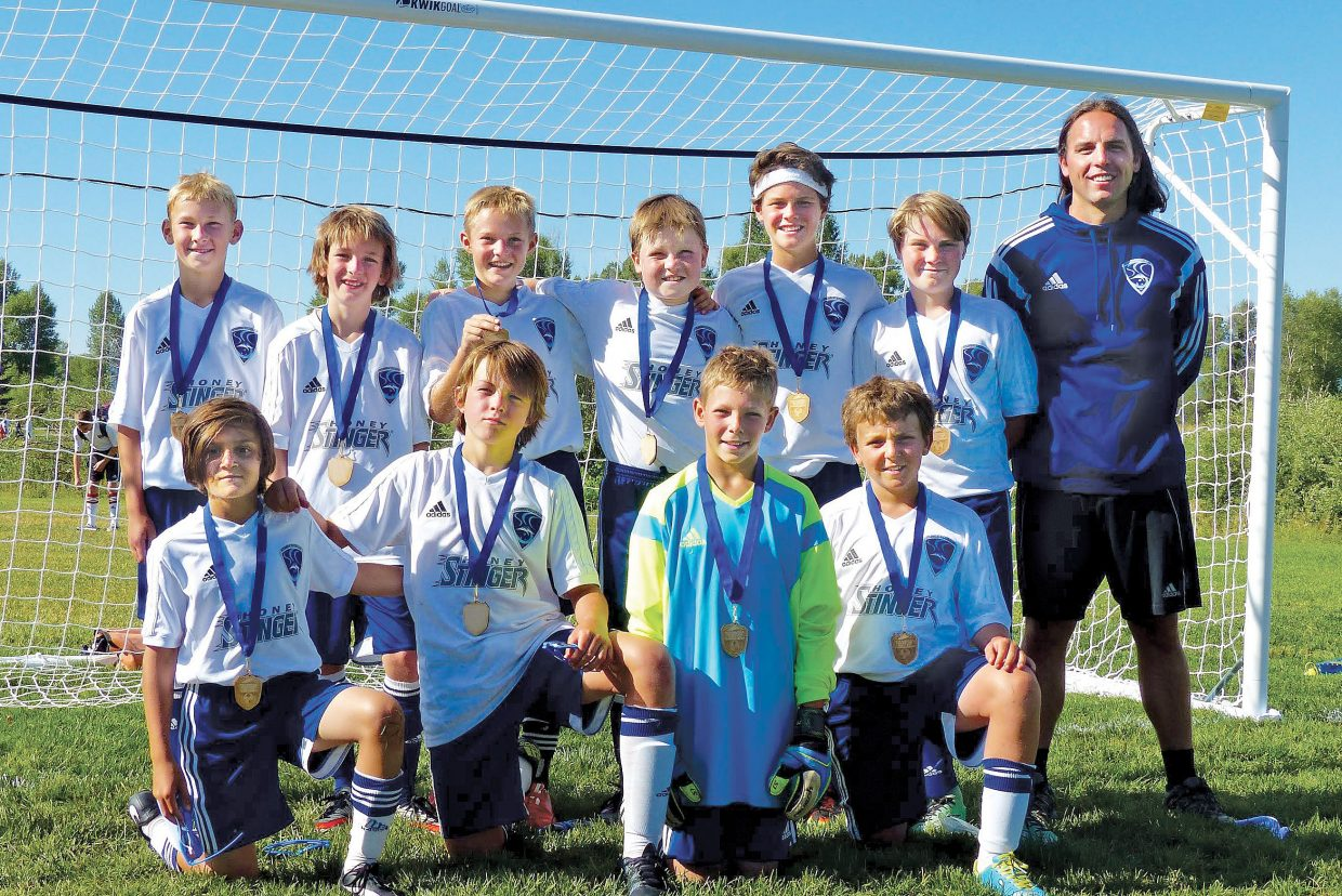 The U11 Steamboat Navy boys soccer team included; in the front row, from left, Jackie Clemente, Andrew Kempers, Charlie Welch and Connor Chapman; and back row, from left, Erik Sandvick, Bryan Peterson, ​Cameron Daly, Jeremy Nolting, Cade Gedeon, Reece John and coach Austin Sheridan.