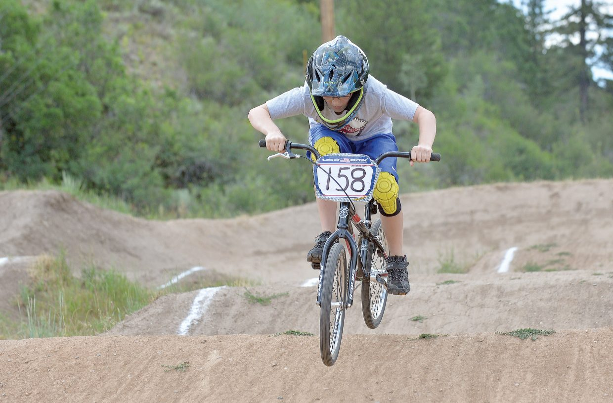 Mason Homan practices at the Howelsen Hill BMX track Monday afternoon. The Steamboat Springs BMX Series will host a race Thursday night. Registration begins at 4:30 p.m. at the track.