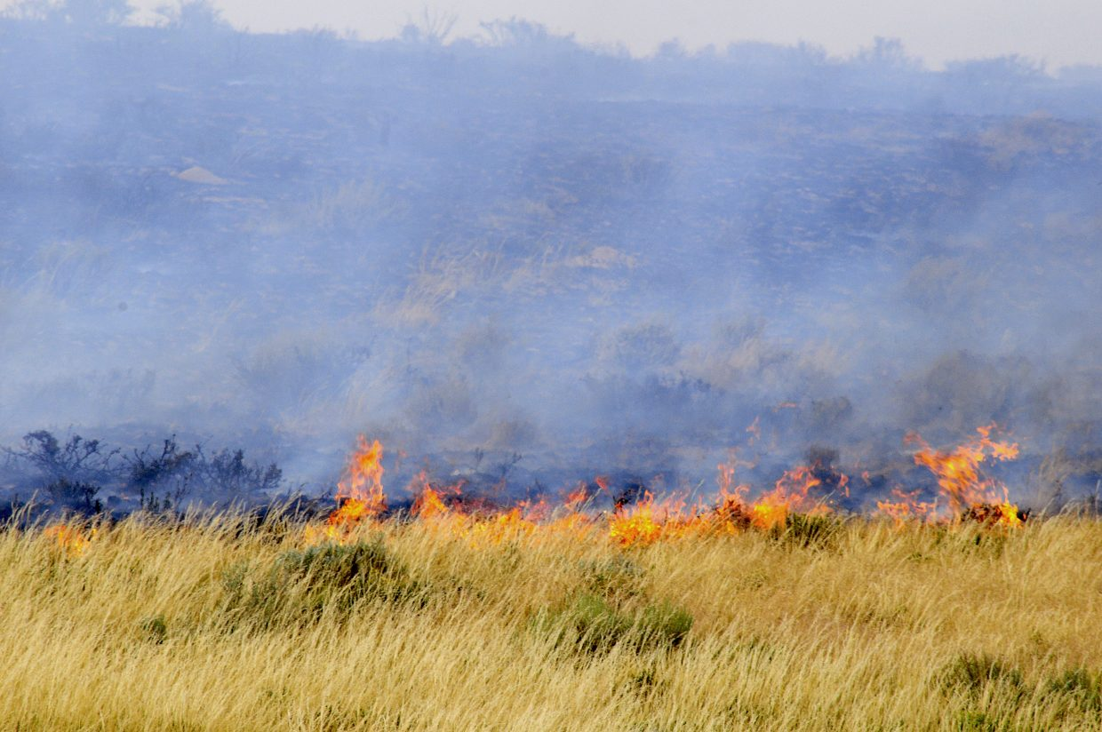 The fireline burns along southern edge of the Alkali fire in Moffat County.