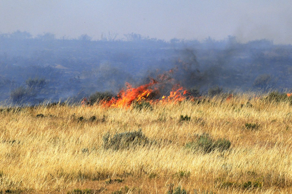 The fireline along the southern edge of the Alkali fire blows eastward Wednesday afternoon.
