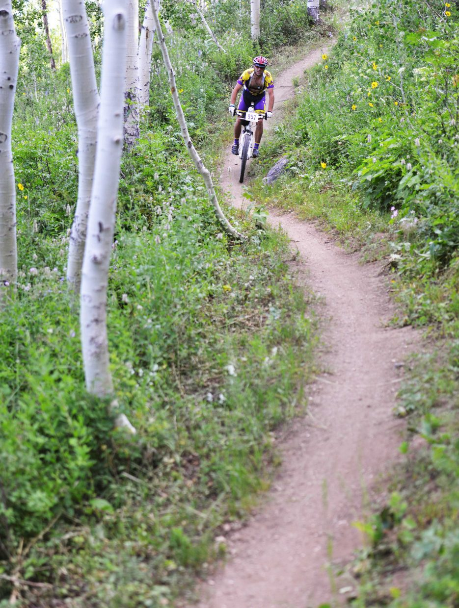 Andrew Miller rides in Wednesday's Town Challenge mountain bike race in Steamboat Springs.