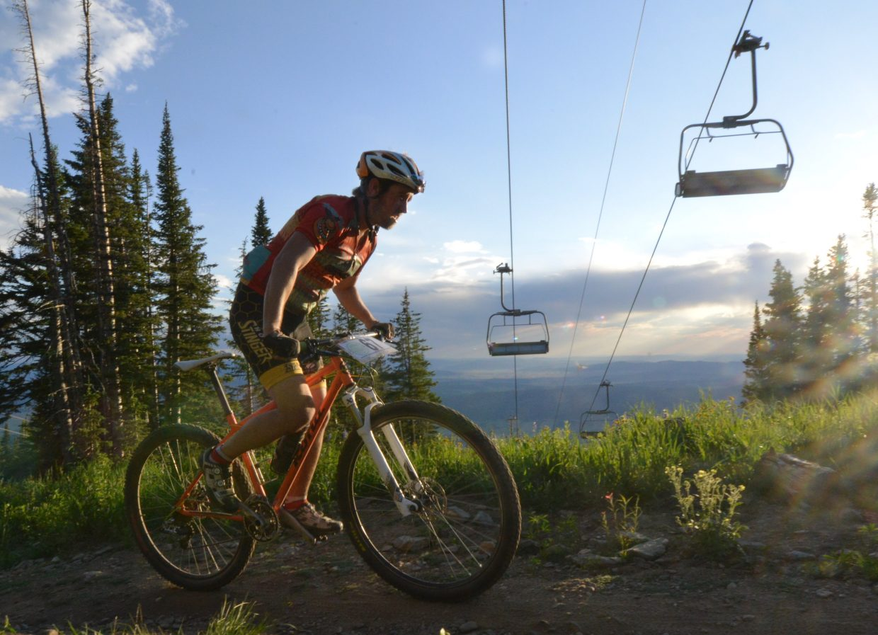 Matt Eggen rides in Wednesday's Town Challenge mountain bike race at Steamboat Ski Area.