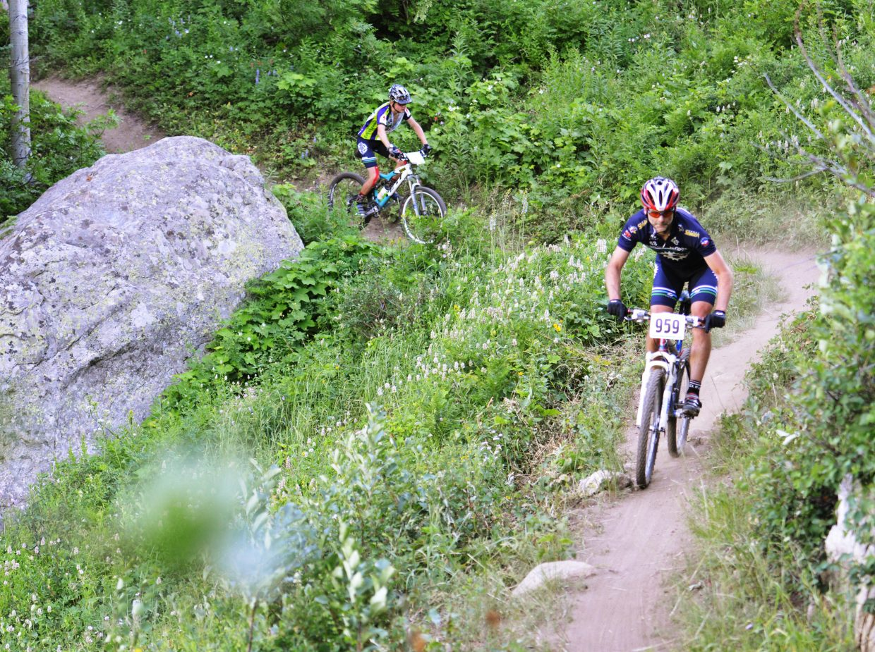 Scott Myller rides in Wednesday's Town Challenge mountain bike race at Steamboat Ski Area.