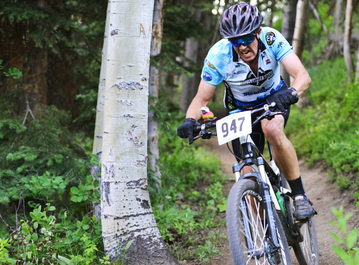 Robin Craigen rides at Steamboat Ski Area in Wednesday's Town Challenge mountain bike race.