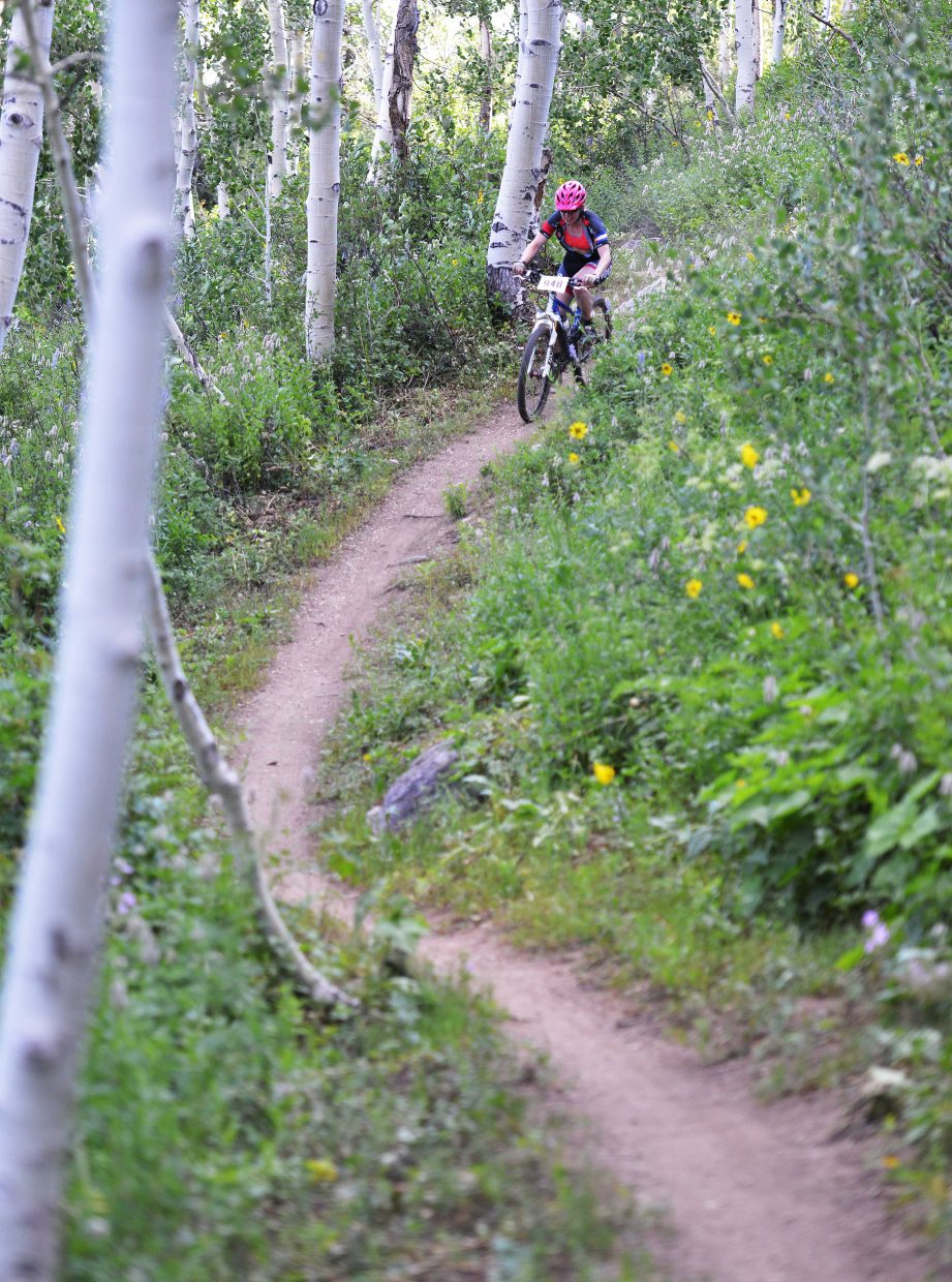 Becky Edmiston rides in Wednesday's Town Challenge mountain bike race at Steamboat Ski Area.