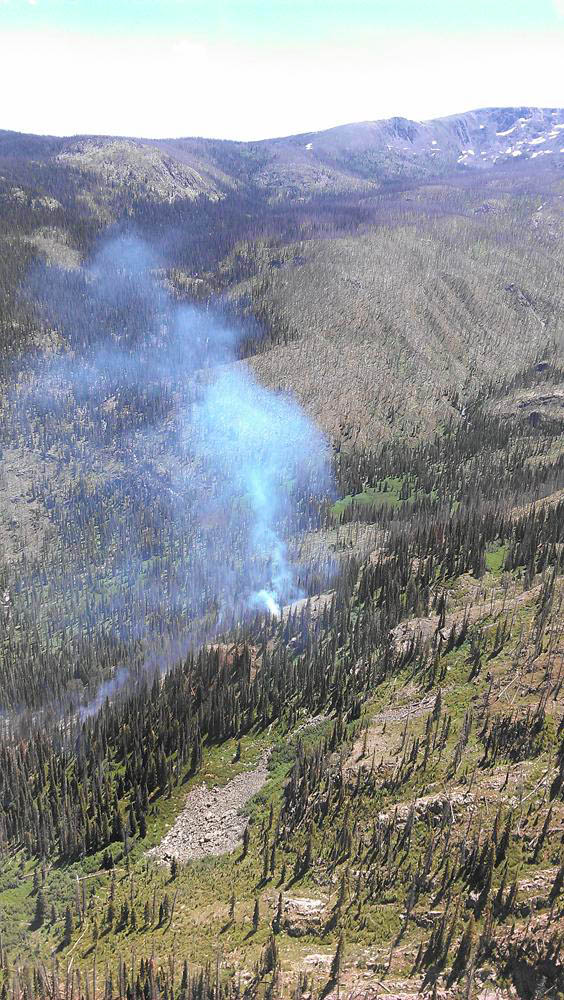 An aerial photo shows the fire burning Wednesday in the Mount Zirkel Wilderness.