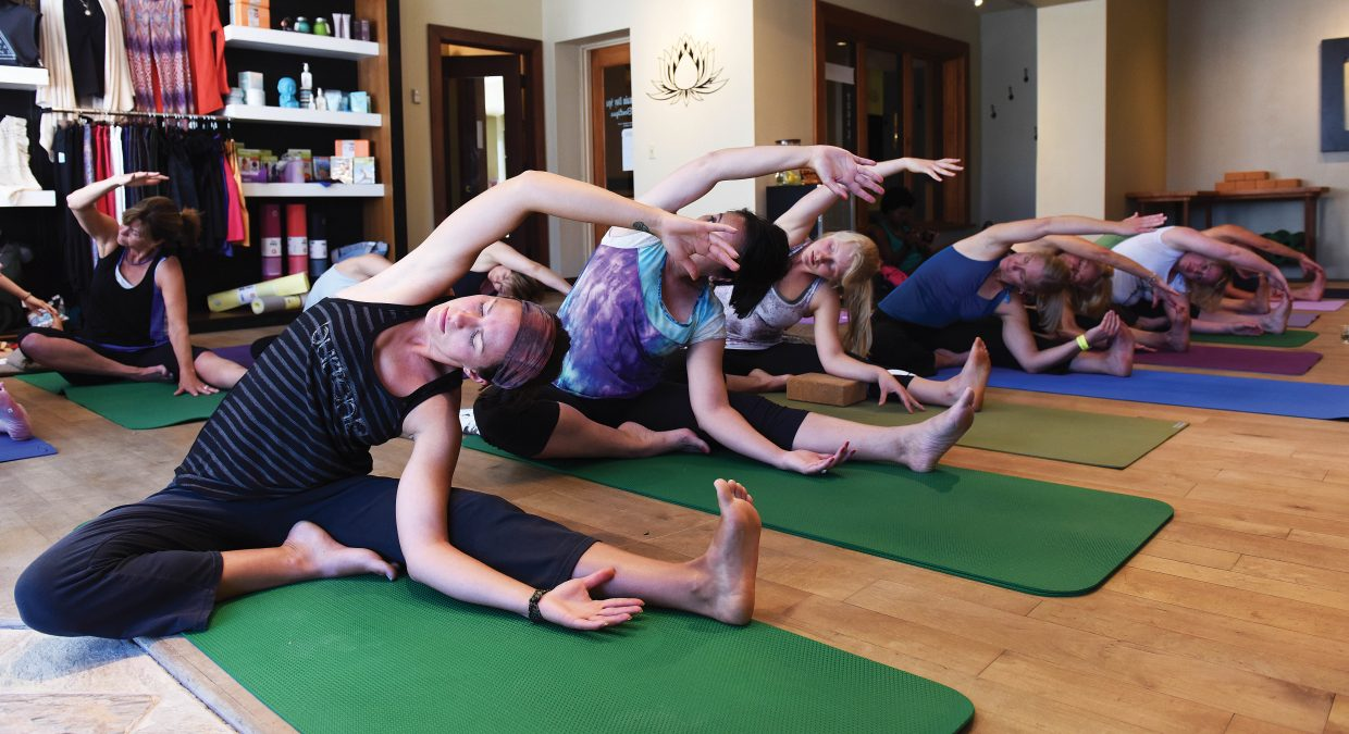 Lindsay Balgooyen takes part in a movement class at the Rocky Mountain Day Spa yoda studio at the Sheraton. The class was part of the Steamboat Movement Fest, which runs Thursday through Sunday at the Steamboat Grand.