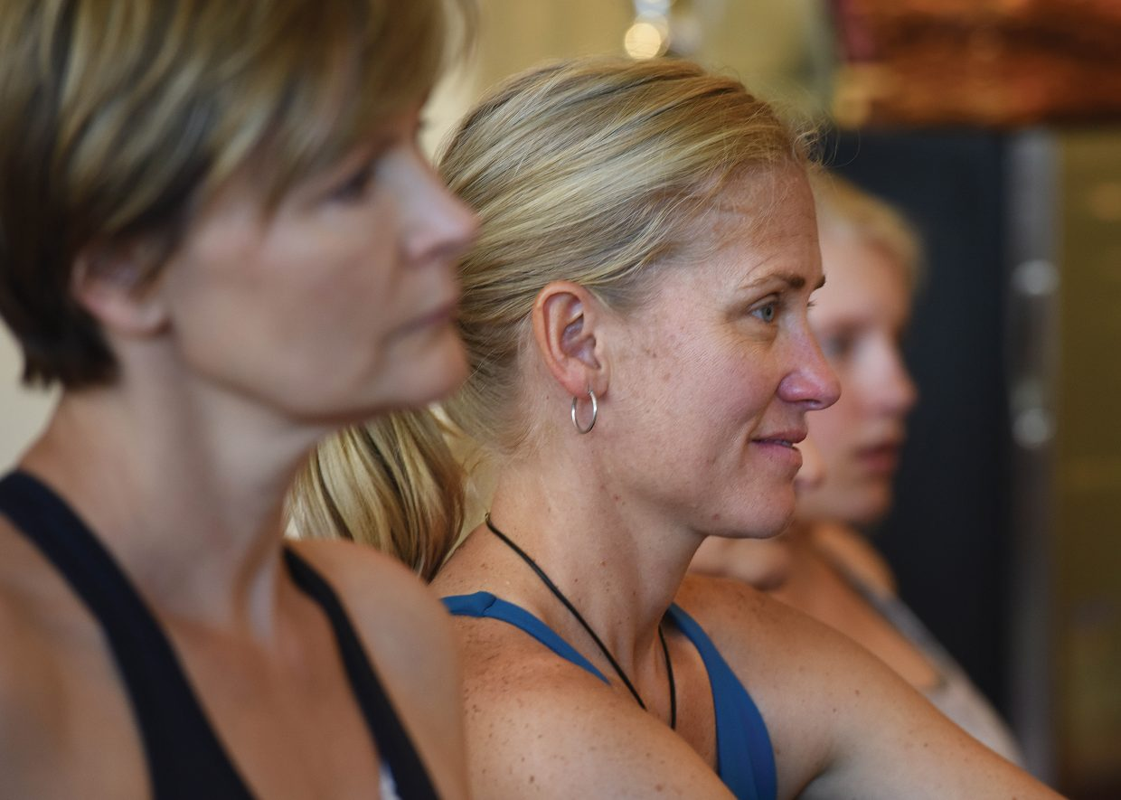 Steamboat Movement Fest participant Tara Yohannan listens to class leader Valarie D'Ambrosio during the Strawberry Park Goddess Circle Immersion. The class was part of the Steamboat MovementFest, which runs Thursday through Sunday at the Steamboat Grand.