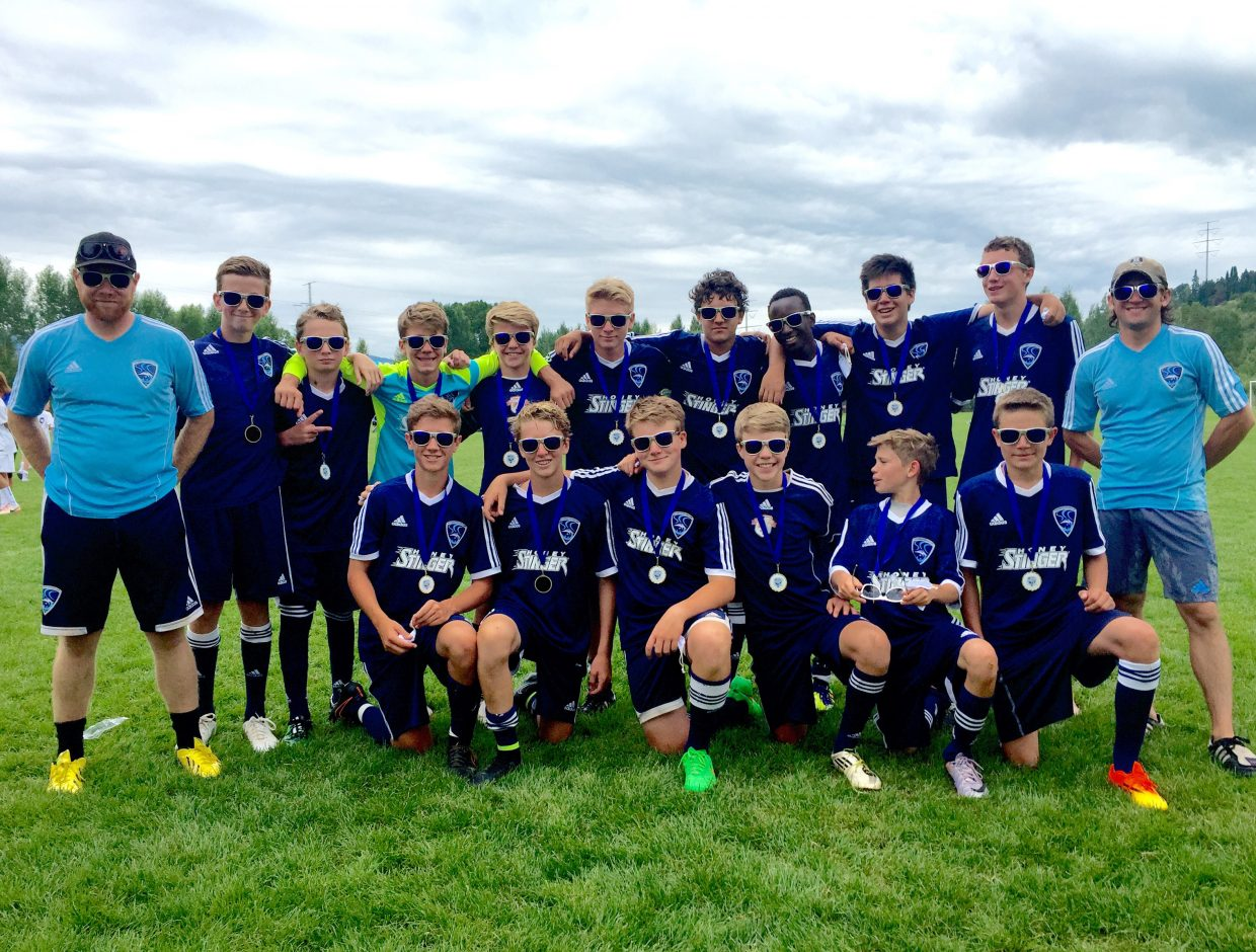 The Steamboat Soccer Club's U14 boys team won the championship in the division last weekend at the Steamboat Mountain Soccer Tournament. The team consisted of, top, from left, coach Ben Beall, Noah Heckel, Jack Fecteau, Murphy Bohlmann, Chase Seymour, Riley Moore, Alejo Quezada, Clinton Bradt, Brian Arias, Cole Puckett and coach Dave Grinnell. Bottom row, Quinn Connell, Decker Dean, Rye Kirchner, Trey Seymour, Ian and Riley McCannon.