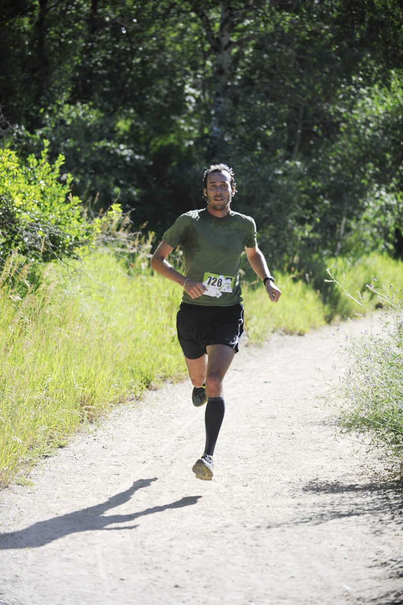 Gabriel Small approaches the finish line during Saturday's Springs Creek Memorial race.