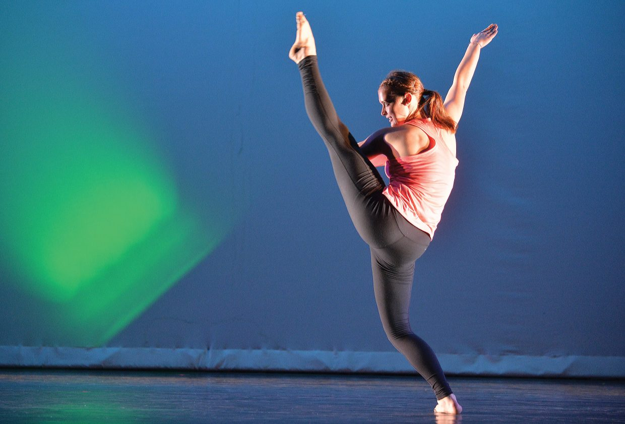 """Missy Daiker rehearses her part for """"An Evening of Dance"""" on Wednesday evening at Steamboat Springs High School. Perry-Mansfield Performing Arts School and Camp will present to show at 8 p.m. Friday and Saturday."""