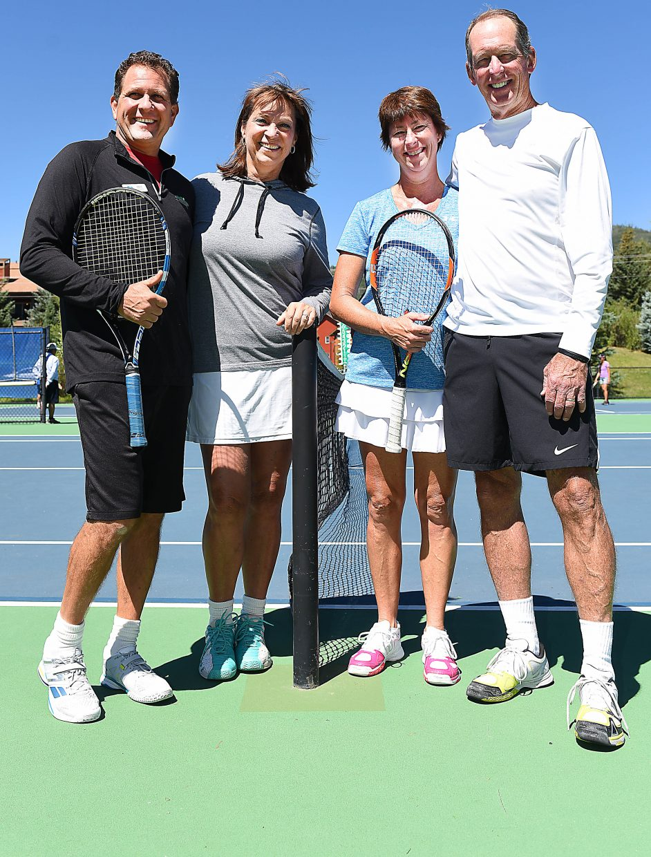 Bill Conway and Loretta Conway, left, will take over running the Tennis Center at Steamboat in October, 2016, after Jim Swiggart and Stacy Swiggart, right, have run the facility for 25 years.