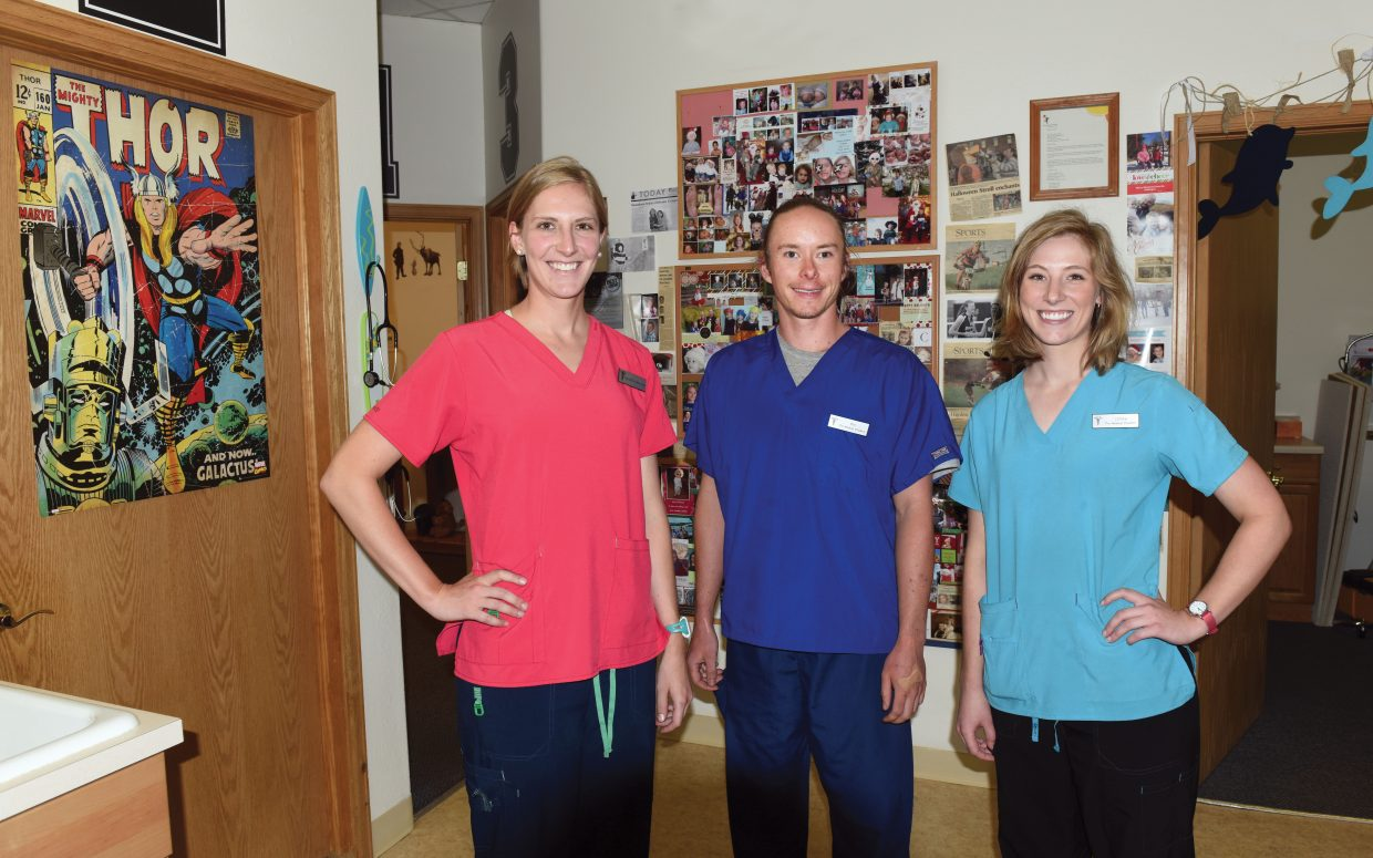 Sleeping Bear Pediatrics clinical staff members, from left, Sarah Dixson, Ben Massey and Linnea Dixson, all plan to begin medical school in fall 2017.