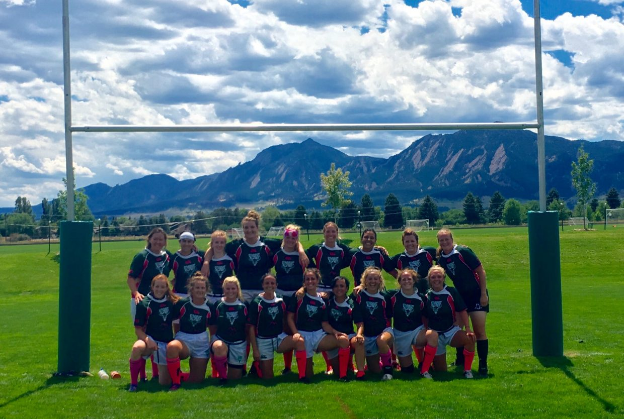 The Steamboat Springs Women's Rugby Team poses after picking up a win Saturday at Boulder.