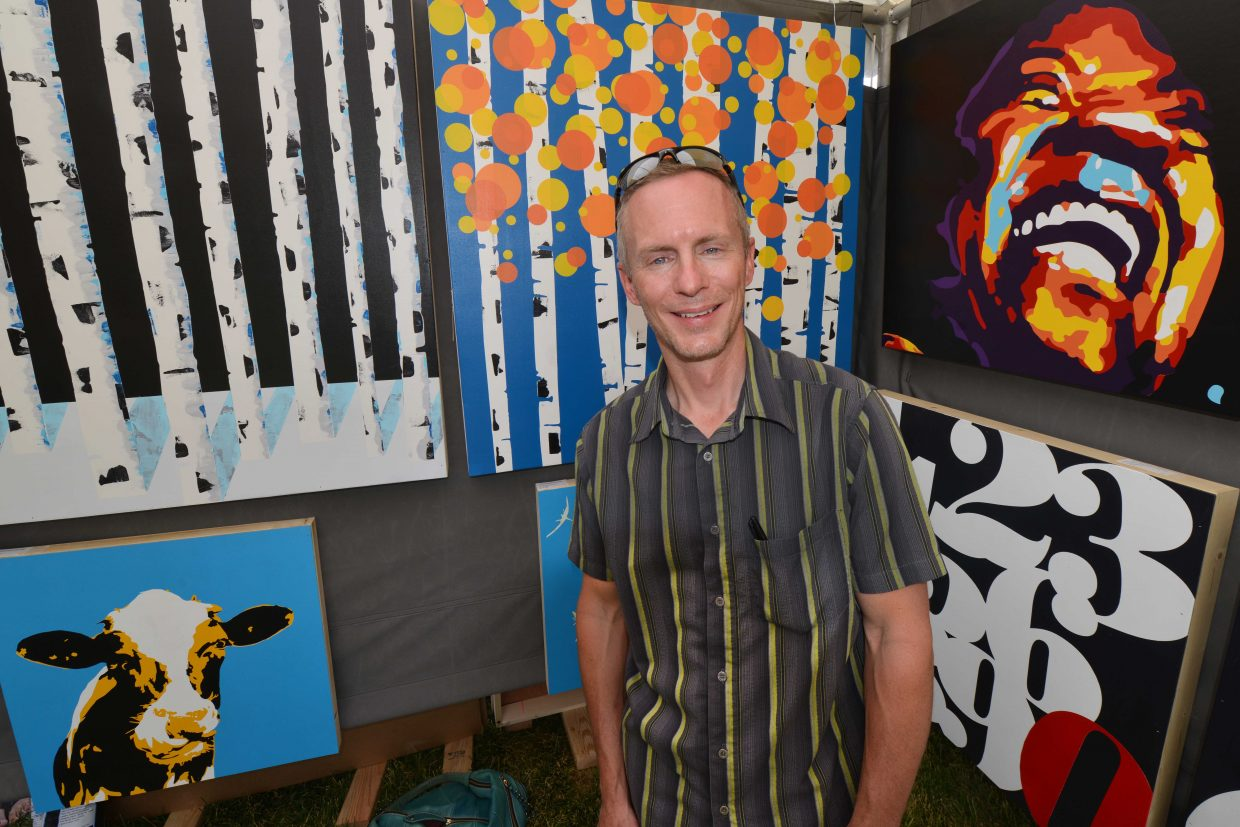 Chris Voeller is an independent Front Range graphic designer, and after some push to do art shows, Voeller went for it. He builds his pictures in layers and constructs the wood panels that he paints on.