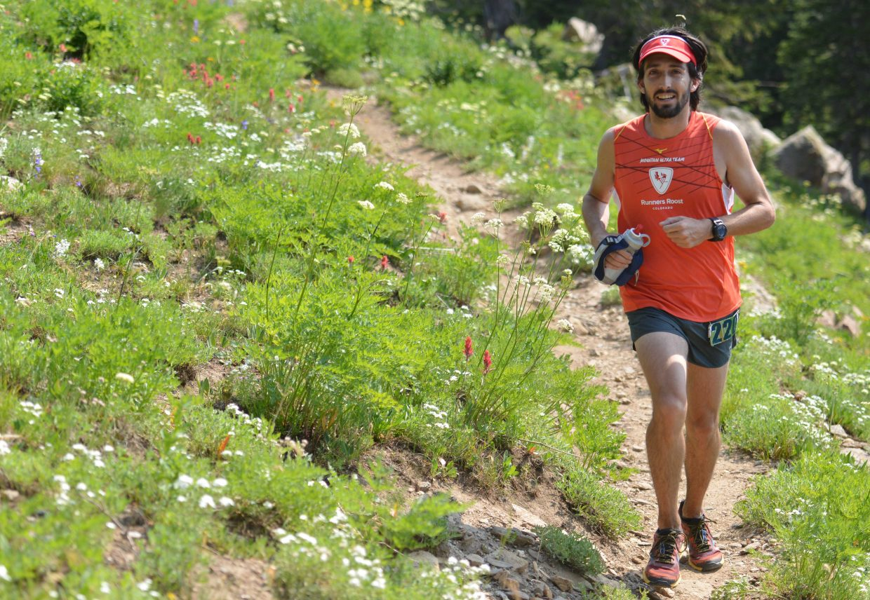 Lucas Crespin runs Saturday in the Mount Werner Classic race in Steamboat Springs.
