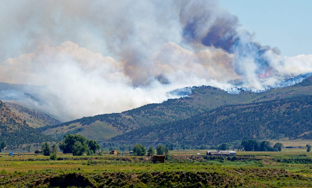 The Milk Fire burns in Moffat County just south of Colowyo Mine. The blaze is estimated at 30 acres.