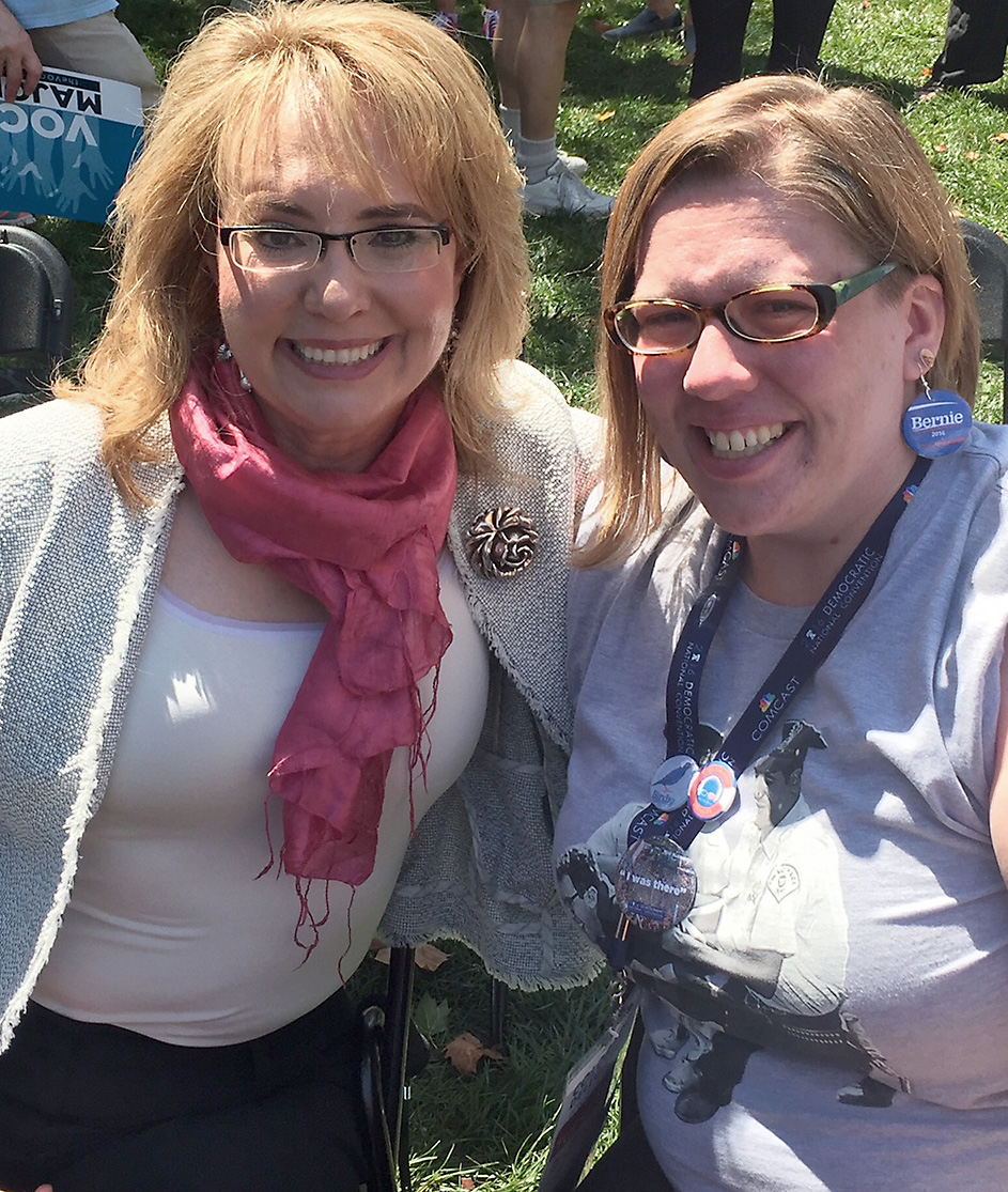 Delegate to the Democratic National Convention Erin Biggs of Steamboat Springs took a selfie with former Arizona Congresswoman Gabby Giffords during a convention event in Philadelphia.
