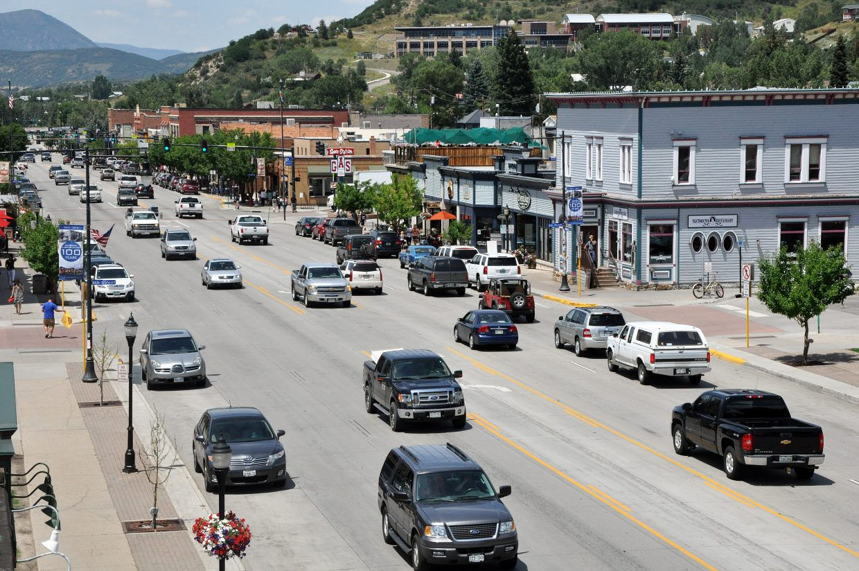 Traffic moves through downtown Steamboat Springs in 2014.