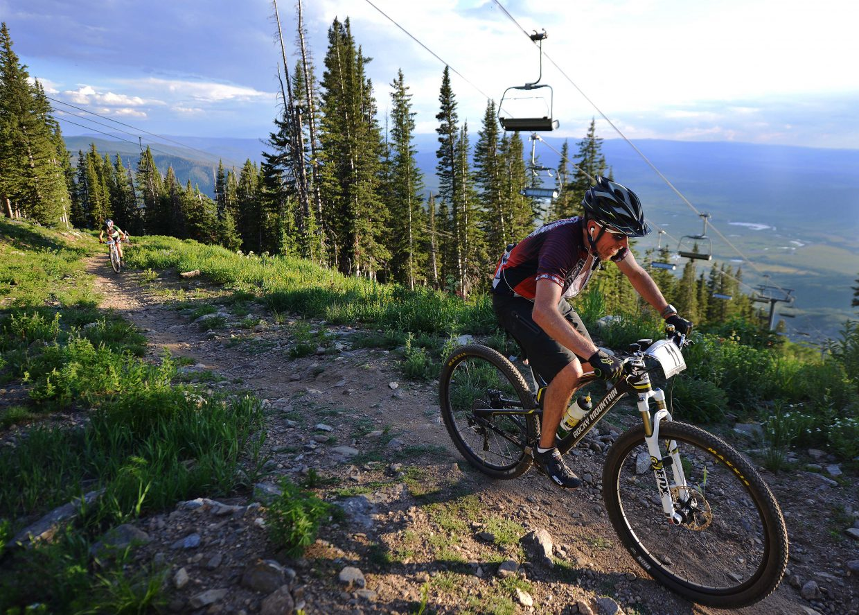 Tony Dickson pedals near the top of Mount Werner during last year's Storm Peak Hill Climb. The Town Challenge returns to the grueling climb Wednesday.