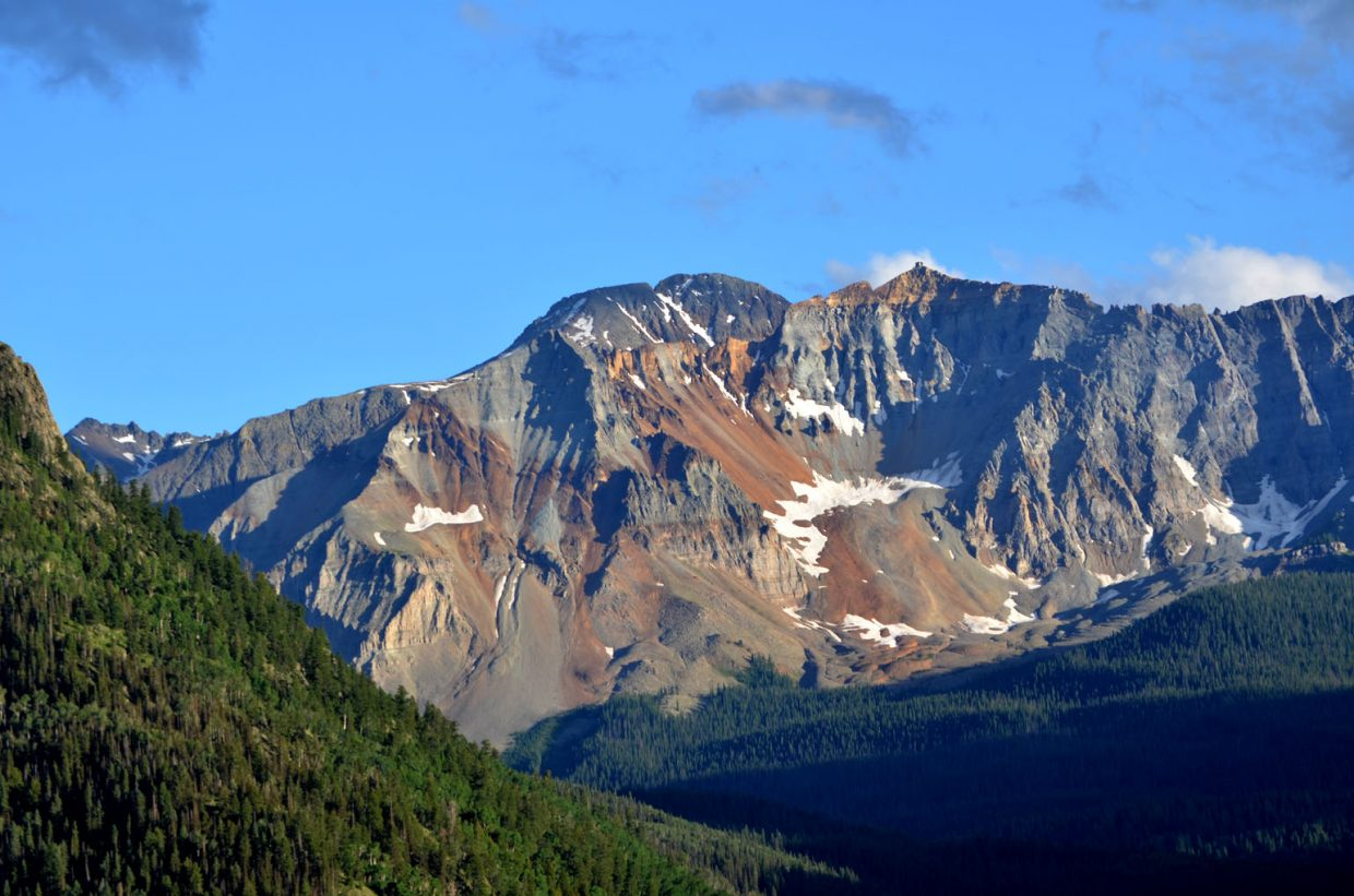 A view of Sheep Mountain from Colorado Highway 145, the San Juan Skyway, on Lizard Head Pass south of Telluride.