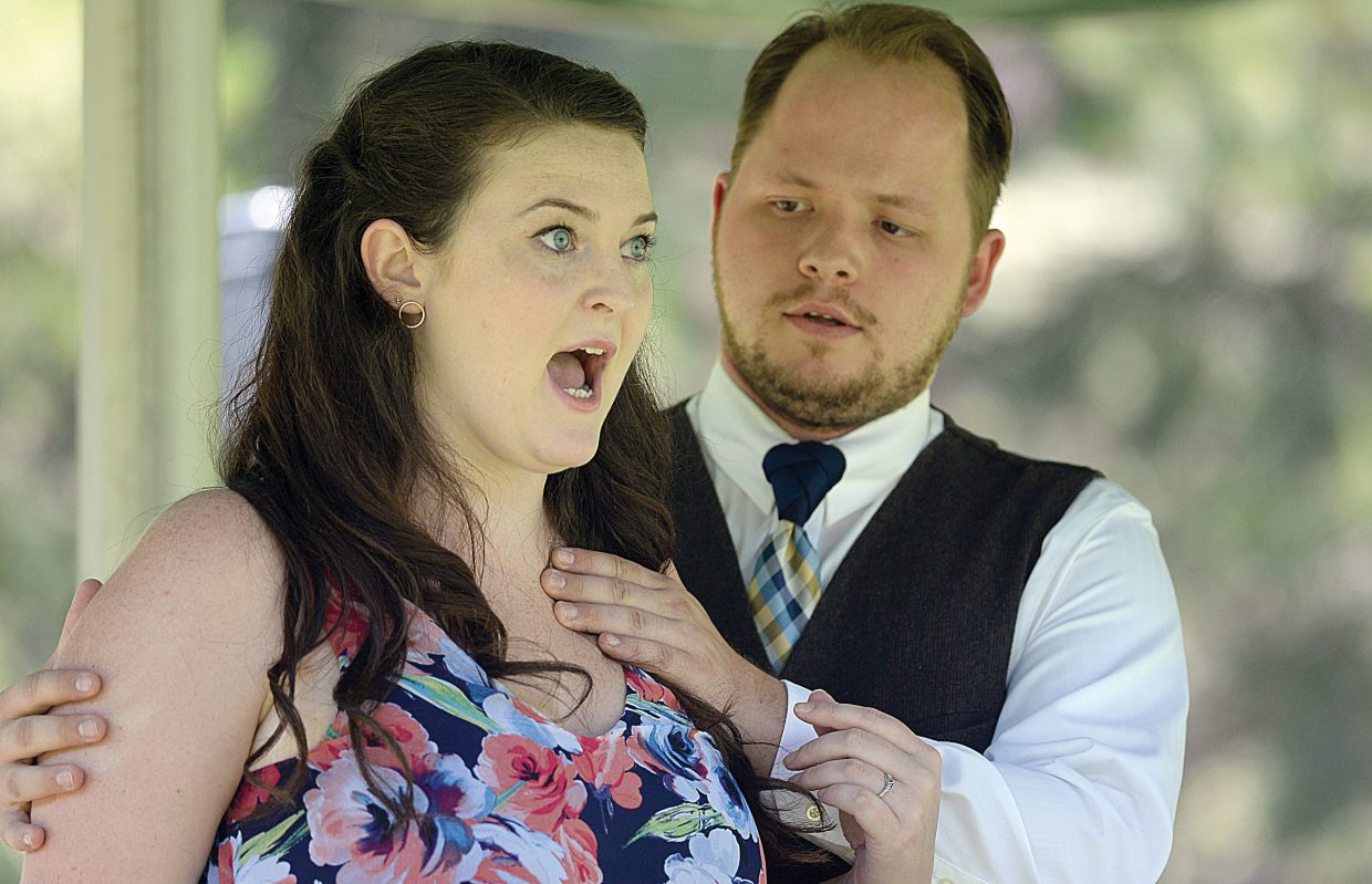 Opera singer Teleri Gee, front, and Levi Willis perform with the Emerald City Opera at the Yampa River Botanic Park Thursday as part of the Strings Music Festival's Music on the Green.